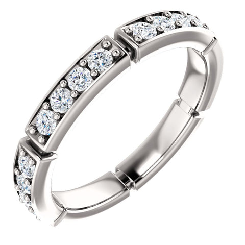 14k White Gold 3/4 ctw. Diamond Eternity Band, Size 7