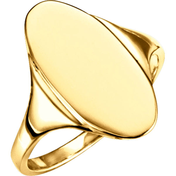 10k Yellow Gold Oval Signet Ring, Size 6