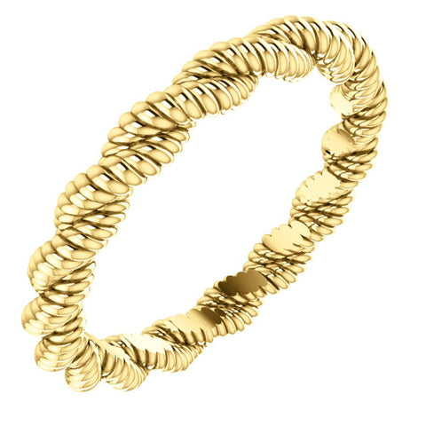 14k Yellow Gold Twisted Rope Band Size 5