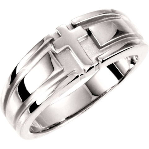 Religious Cross Duo Wedding Band Ring in 14k White Gold ( Size 6 )