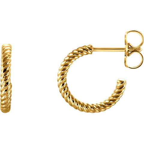 14K Yellow Gold 12mm Hoop Earrings With Rope Design