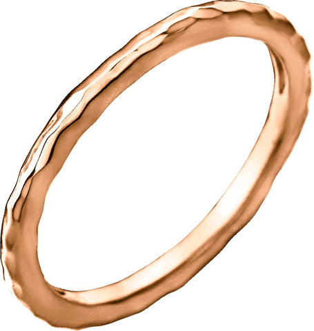 14k Rose Gold 2mm Hammered Stackable Ring Size 6