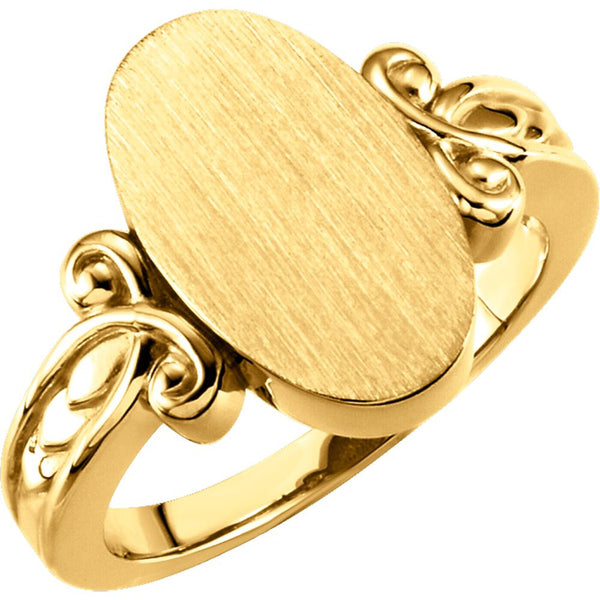 14k Yellow Gold Fancy Oval Signet Ring, Size 6