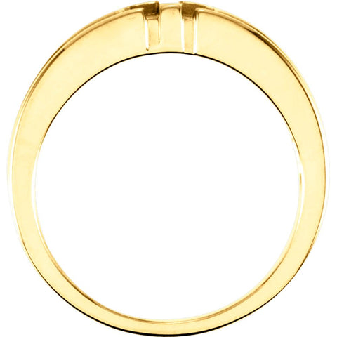 14k Yellow Gold Gents Religious Cross Duo Band, Size 10