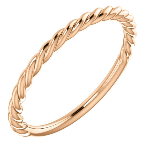 14k Rose Gold Rope Band, Size 7