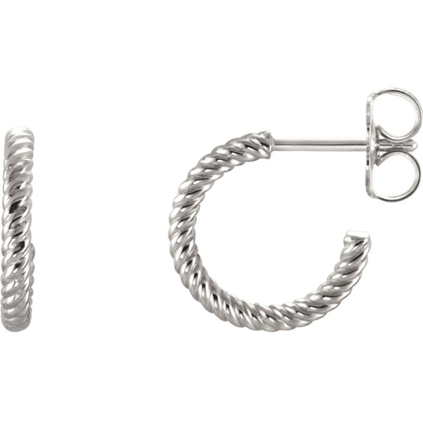 Continuum Sterling Silver 12mm Rope Design Hoop Earrings
