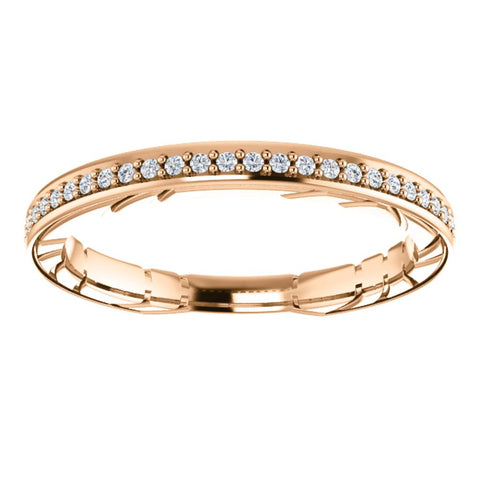 14k Rose Gold 1/6CTW Diamond Anniversary Band, Size 7