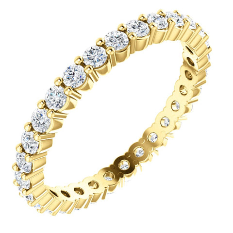 Eternity Wedding Band Ring in 14k Yellow Gold ( Size 6.5 )