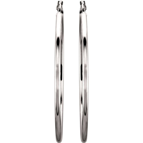 14k White Gold 47mm Tube Hoop Earrings