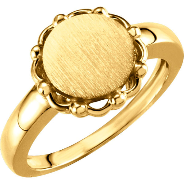 14k Yellow Gold Round Signet Ring, Size 6