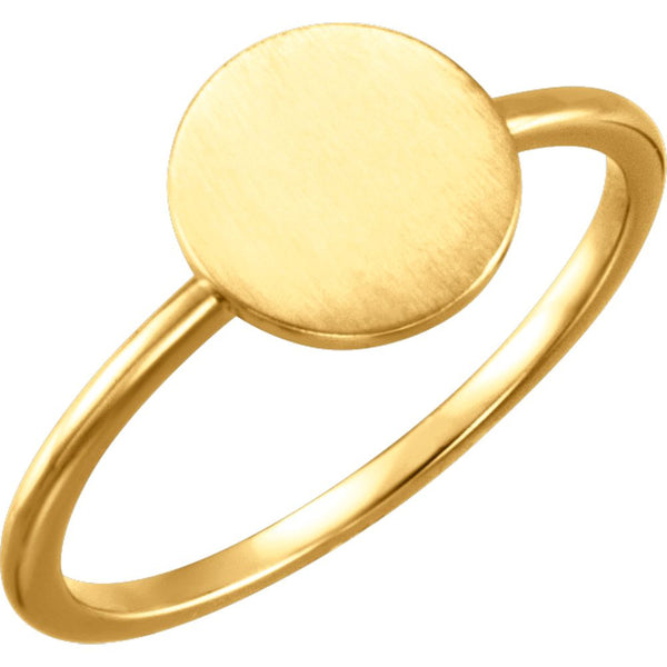 14k Yellow Gold Round Engravable Ring , Size 7