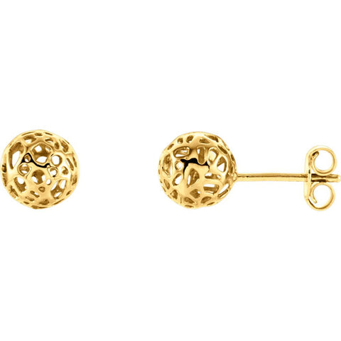 14k Yellow Gold Ball Earrings