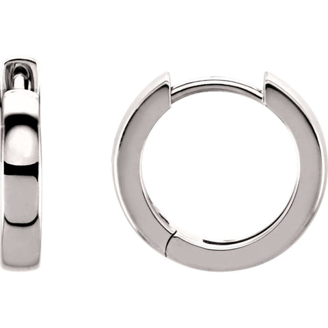 14K White Gold 14mm Hinged Hoop Earrings