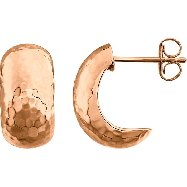 14k Rose Gold Hammered Hoop Earrings