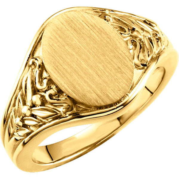 14k Yellow Gold Oval Signet Ring , Size 6