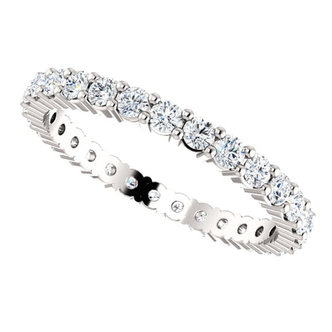14k White Gold 7/8 CTW Diamond Eternity Band Size 7
