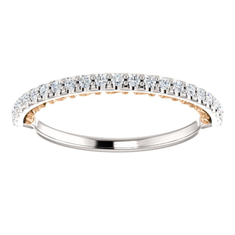 14K White & Rose Gold 1/4 CTW Diamond Anniversary Band, Size 7