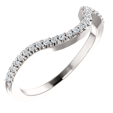14k White Gold 1/8 CTW Diamond Band, Size 7