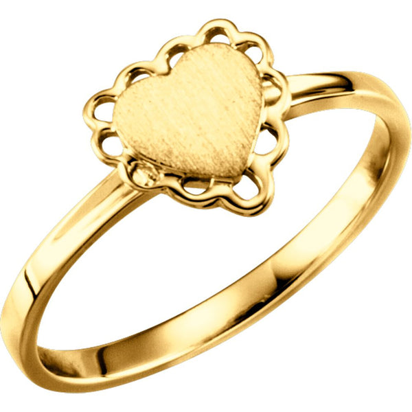 10k Yellow Gold Heart Signet Ring, Size 6