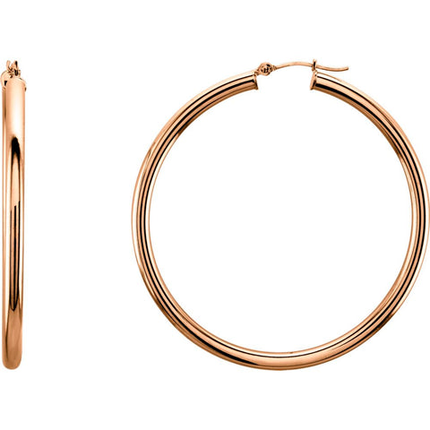 14k Rose Gold 48mm Tube Hoop Earrings