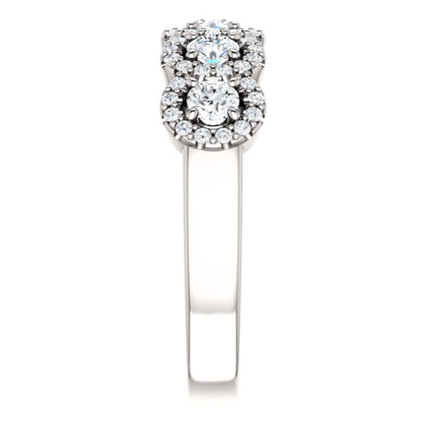 14k White Gold 3mm Round 3/4 CTW Diamond Engagement Ring , Size 7