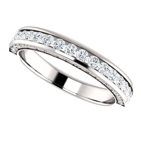 14k White Gold 1/2 CTW Round Diamond Anniversary Band, Size 7