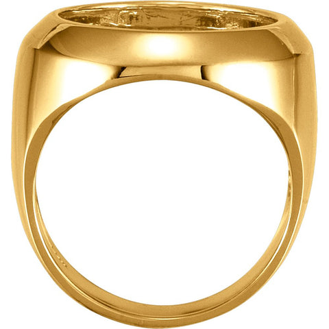 10k Yellow Gold Men's 16.5mm Coin Ring Mounting, Size 9.75