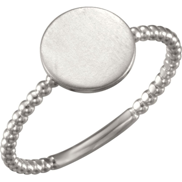Continuum Sterling Silver Round Engravable Beaded Ring , Size 7