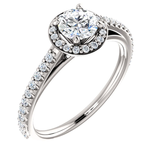 14k White Gold 3/4 CTW Diamond Halo-Style Engagement Ring, Size 7