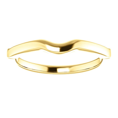14k Yellow Gold Matching Band to 6.5mm Round Ring, Size 7
