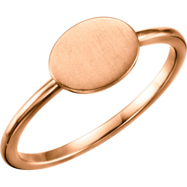 14k Rose Gold Oval Engravable Ring , Size 7