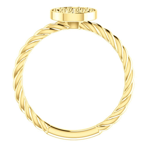 14k Yellow Gold Rope Cluster Ring Mounting, Size 7