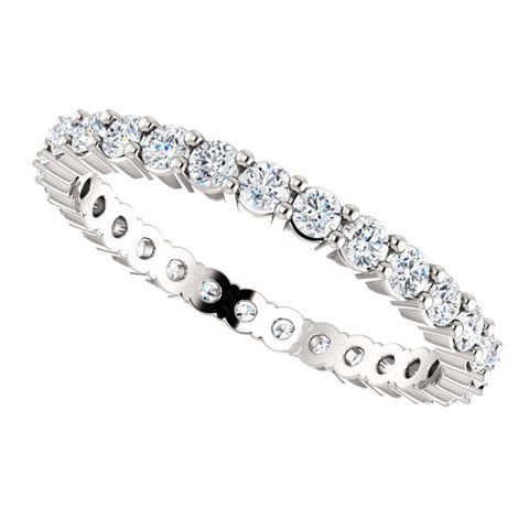 14k White Gold 3/4 CTW Diamond Eternity Band Size 8