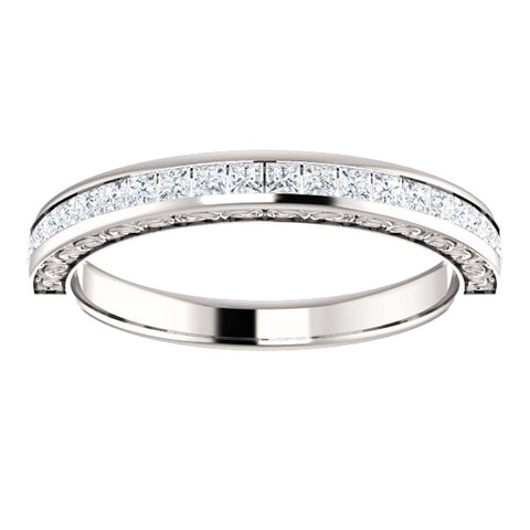 14k White Gold 1/2 CTW Square Diamond Anniversary Band, Size 7