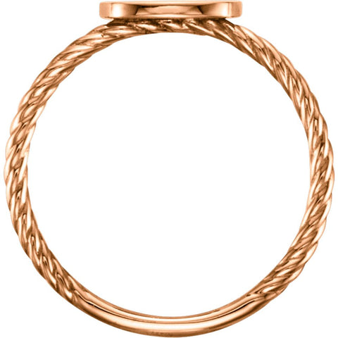 14k Rose Gold Antique Engravable Rope Ring , Size 7
