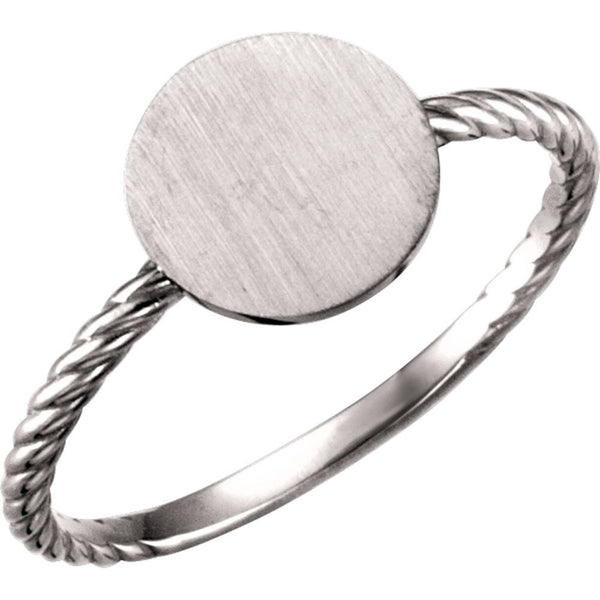 14k White Gold Round Engravable Rope Ring, Size 7