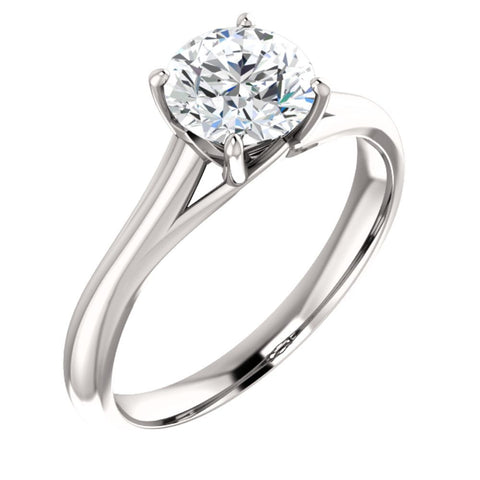 14k White Gold 6.5mm Round Forever Brilliant« Moissanite Ring, Size 7