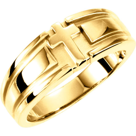 Religious Cross Duo Wedding Band Ring in 14k Yellow Gold ( Size 10 )