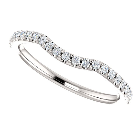 14k White Gold 1/5 CTW Diamond Contour Band , Size 7