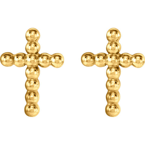 14k Yellow Gold Beaded Cross Earrings