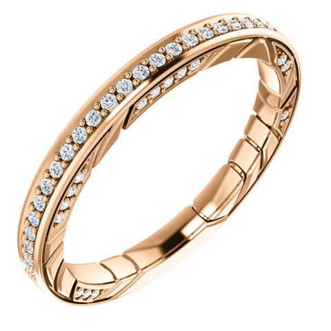 14k Rose Gold Anniversary Ring Mounting, Size 7