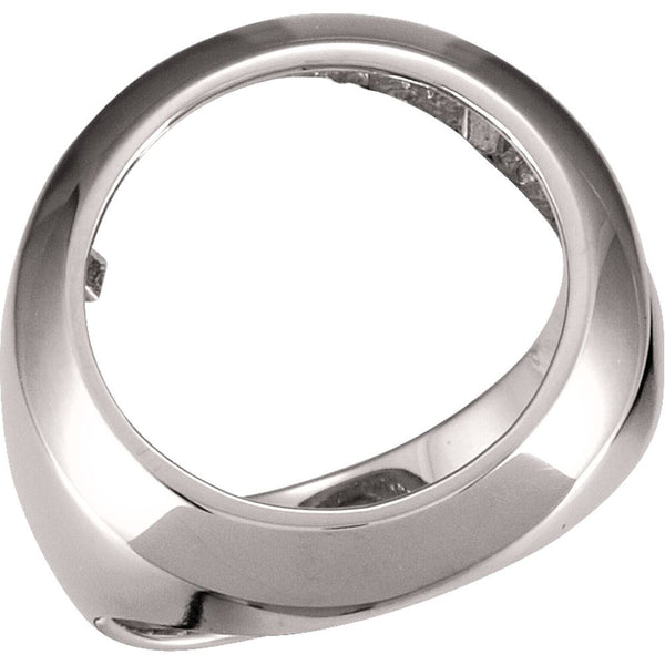 14k White Gold Men's 16.5mm Coin Ring Mounting, Size 9.75