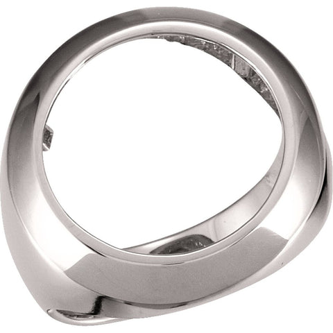 16.50 mm Men's Coin Ring Mounting in 14K White Gold (Size 10)