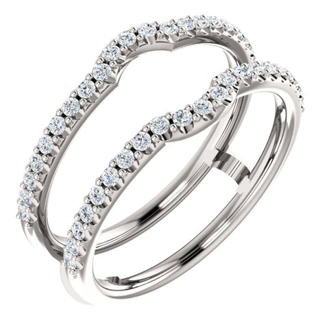 14k White Gold 3/8 CTW Diamond Ring Guard to Fit 1/4 CT to 1 CT Center Stone, Size 7