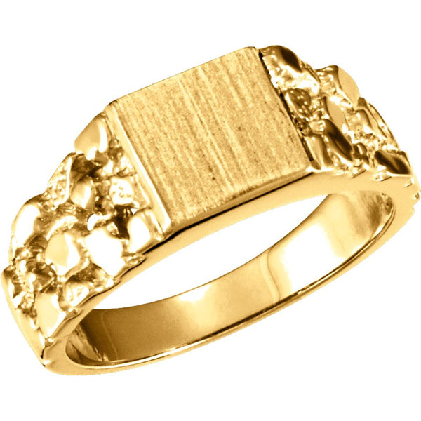 14k Yellow Gold 9mm Men's Nugget Signet Ring, Size 10