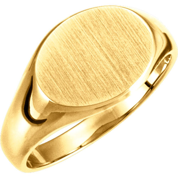 10k Yellow Gold Ladies Oval Signet Ring, Size 6