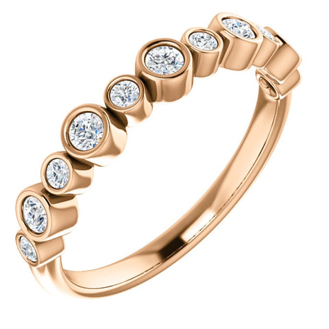 14k Rose Gold 1/3 CTW Diamond Ring, Size 7