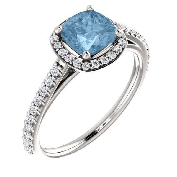 Platinum Sky Blue Topaz & 1/3 CTW Diamond Engagement Ring, Size 7