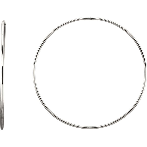 Sterling Silver 69mm Endless Hoop Tube Earrings