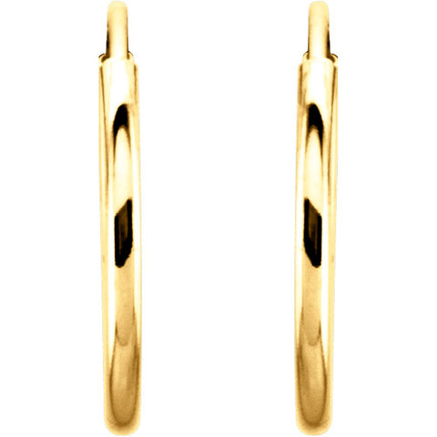 14k Yellow Gold 12mm Endless Hoop Earrings